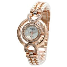 FW919B Rose Gold Tone Band White Dial Ladies Women Immited Pearl  Bracelet Watch