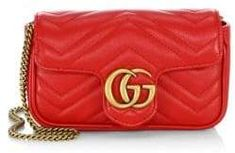 1404e5100ebf Gucci Gucci Women's GG Marmont Matelassé Leather Mini Chain Camera Bag -  Hibiscus Red Gg