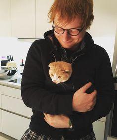 Ed Sheeran with one of his cats Ed Sheeran Love, Ed Sheeran Lyrics, 5sos Lyrics, Fotos Tumblr Boy, Give Me Love, Edward Christopher Sheeran, Maurice Careme, Teddy Photos, International Cat Day