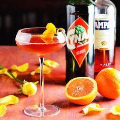 The Scorched Earth: Campari, Cynar, Mezcal, Orange Juice, Orange Bitters.