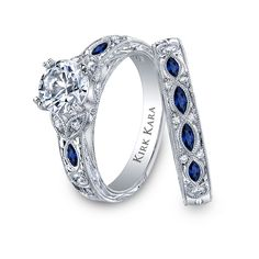 engagement rings with sapphire accents | Emerald Cut Engagement Rings With Sapphire Accents