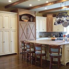 Kitchen Two-tone Cabinets Design,  Cream cabinets with wood floors and cabinets