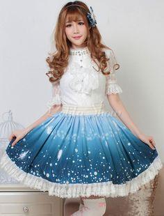 Vestido de Pavão azul Lolita saia Loltia poliéster saia renda branca Trim - Lolitashow.com