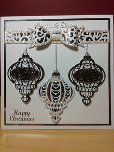 Christmas Baubles card, die-cut using Creative Expressions Sentimental Baubles and Filigree Bow dies.