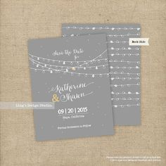 Save the Date String lights/ Yellow and Grey  by LingsDesignStudio, $19.00