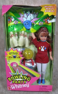 Bowling Party Whitney 1998 New Doll w/Bowling Lane 1998 Barbie #Mattel #DollswithClothingAccessories