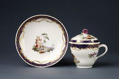 Chocolate cup, cover and saucer - 1776-90, Tournai porcelain factory (manufacturer) - The Hague, Holland (decorated).