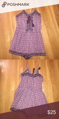 American eagle romper Comfortable, loose, can dress it up or down, tassels on front and bottom, beautiful maroon color. American Eagle Outfitters Other