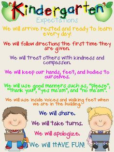"Kinder Expectations...but what do you think, are these expectations or rules/behavior guidelines? What message are we sending to students if this is what we ""expect""?"