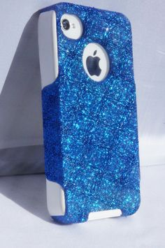 Glitter iPhone 4 Case Otterbox Custom iPhone Case Cover for iPhone 4, iPhone 4S Marine Blue/White. $44.99, via Etsy.