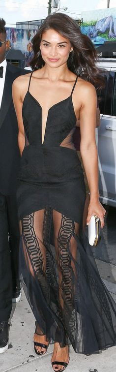 Who made Shanina Shaik's black plunge lace gown?