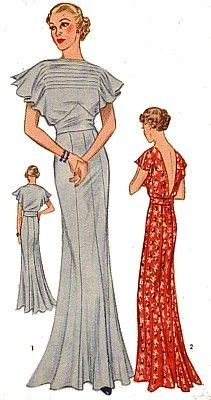 1930s evening dress pattern illustration