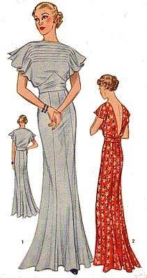 1930s evening dress pattern illustration