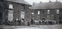 1st Northumberland Fusiliers erecting barricades in the streets of Mons 1914