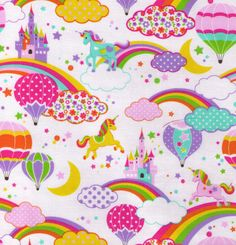 White Glitter Unicorn hot Air Balloon and Rainbows - Cosmo Textile Japanese Import Fabric