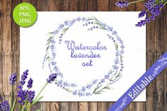 Check out Watercolor lavender set by Little graphic shop on Creative Market