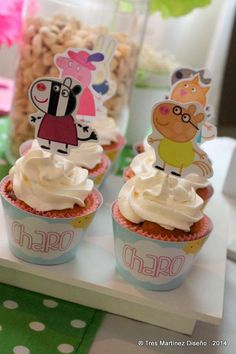 Cupcakes at a Peppa Pig birthday party!  See more party planning ideas at CatchMyParty.com!