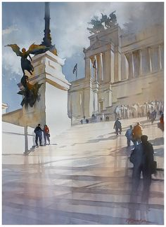"""""""steps to the monument vittorio emanuele-rome"""" thomas w schaller watercolor 30X22 inches  2013"""