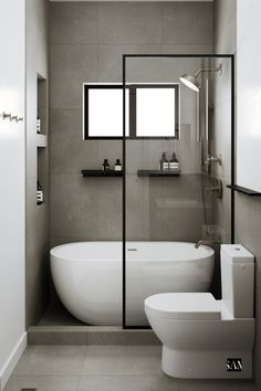 Creating a pseudo wet-room space, this layout now boasts a bathtub - shower combination with double drain construction, compact rain head, modern cement tiles, and even a recessed hand towel ring to save space. Small Luxury Bathrooms, Small Full Bathroom, Small Bathroom Layout, Bathroom Design Luxury, Modern Bathroom, Small Bathtub, Small Wet Room, Compact Bathroom, Small Bathroom Renovations