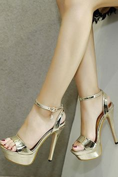 cfc8be9586dd15 Gold Open Toe Pendant Decor Ankle Strap Metallic Platform Stiletto High  Heels  035604   Fashion