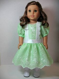 From 2011 - Pretty spring green eyelet dress modeled on Rebecca made from a Primrose Lane pattern