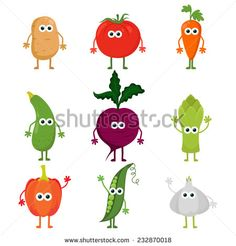 Collection of cute vector cartoon vegetables. Cartoon kawaii vegetable characters set: potato, tomato, carrot, zucchini, beetroot, asparagus, paprika, peas and garlic. Cute food characters.