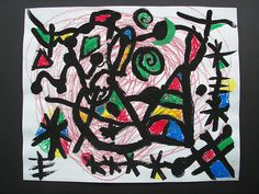 Miro abstract for 1st, paint and crayon