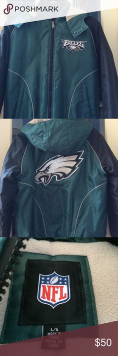 Mens Eagles jacket with hood with logo! 🏈🏈🏈🏈 Warm Eagles jacket with detachable hood and logo in front and back of jacket. Only worn twice and looks like new! Warm and roomy! NFL Jackets & Coats