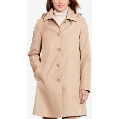 Lauren Ralph Lauren Hooded Single-Breasted A-Line Raincoat, ($100) ❤ liked on Polyvore featuring outerwear, coats, racing khaki, hooded raincoat, single breasted trench coat, trench coat, rain trench coat and khaki coat