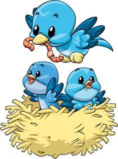MAMA BIRD AND BABIES CLIP ART