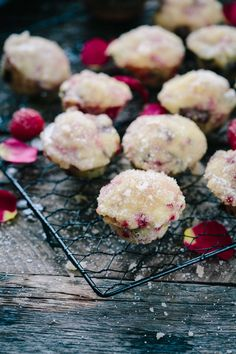 Sugared mini donut muffins, made from pancake mix and chocked full of  raspberries and chocolate and chocolate.