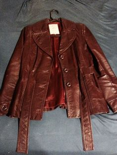 Gassy Jack Unique Vintage Maroon Belted Leather Jacket by funkyou