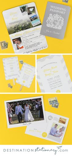 Collection of bright yellow and grey chevron pattern wedding stationery. Passport Invitation, Thank You Postcard and Order of Service Fan to choose from in our shop