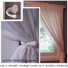 Hometalk | It's the simple things! (vintage hook = curtain tie back)