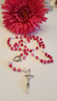 New! Free Shipping! Women's/ Girl's Pink Jasper Rosary with Rose Paters! Sacred Heart center, OOAk Handmade, Prayer Beads, Catholic gifts by AutumnsBlessing on Etsy