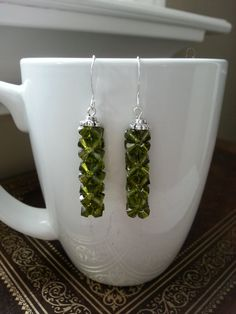 Olivine Crystal Earrings, Green, Rock Candy, Earrings, Cube, Crystal Earrings, Night Out, Statement, Simple, Dangle, Bridesmaids Earrings by CrystallureDesigns on Etsy