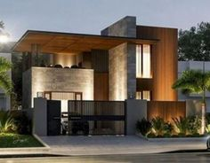 Color home design ideas. Contemporary house designs have a great deal to offer to a modern dweller. Ultimately, the modern house architecture does not limit imaginative minds whatsoever. Modern House Facades, Modern Exterior House Designs, Dream House Exterior, Modern House Design, Modern Houses, Nice Houses, Contemporary Design, Home Exterior Design, Interior Design