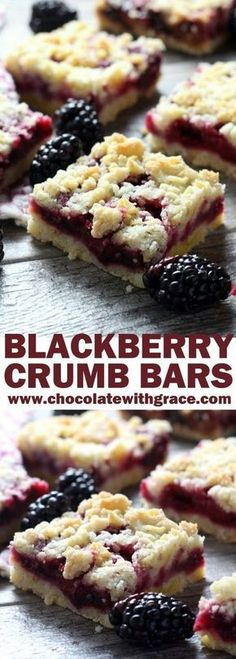 Blackberry Crumb Bars These cheery, blackberry crumb bars are a summertime favorite and make a perfect afternoon snack or simple dessert. - Blackberry Crumb Bars - Chocolate with Grace Easy Desserts, Delicious Desserts, Summer Cookout Desserts, Light Summer Desserts, Picnic Desserts, Light Snacks, Summer Recipes, Baking Recipes, Cookie Recipes