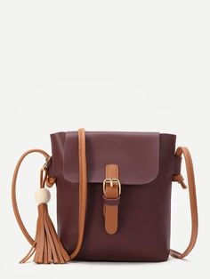 MakeMeChic - MAKEMECHIC Burgundy Buckle PU Shoulder Bag With Contrast Strap - AdoreWe.com