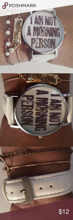 Statement quote Watch Perfect summer watch. Make an statement every time you wear it. White belt and black letters and silver hardware. New. Battery working. See pics for better description. Any questions let me know. I don't trade but I do take reasonable offers. Accessories Watches
