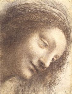 Leonardo da Vinci: The Head of the Virgin in Three-Quarter View Facing Right, Black chalk, charcoal, and red chalk, with some traces of white chalk (? some remains of framing outline in pen and brown ink at upper right (not by Leonardo) Michelangelo, Leonardo Da Vinci Dibujos, Leonardo Da Vinci Zeichnungen, Renaissance Men, Renaissance Humanism, Metropolitan Museum, Caricatures, Art History, History Museum