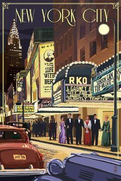 New York - Theater Scene - Lantern Press Artwork Giclee Art Print, Gallery Framed, Espresso Wood), Multi Poster Retro, Poster S, Poster Prints, Art Prints, Poster Wall, New York Poster, Vintage New York, Vintage Ski, Vintage Prints