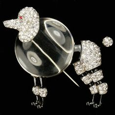 Trifari 'Alfred Philippe' Pave and Enamel Jelly Belly Poodle Dog Pin Clip