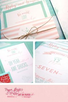 ♥ A COASTAL CHIC WEDDING INVITATION    Inspired by prepster striped bathing suites, the hottest wedding colors of 2014, and hand drawn sea