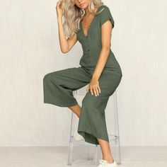 f0571375a56 Summer Women Fashion Deep V-Neck Short Sleeves Front Button Loose Sexy  Jumpsuits