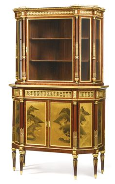 A fine Louis XVI style gilt-bronze and Japanese style lacquer mounted mahogany cabinet à deux corps<br>Paris, circa 1885, possibly by Henry Dasson | Lot | Sotheby's