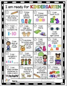 BACK TO SCHOOL freebie for kindergarten readiness - first week of kindergarten