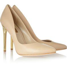 BCBGMAXAZRIA Tanta leather pumps (8.605 RUB) ❤ liked on Polyvore featuring shoes, pumps, heels, scarpe, обувь, beige, high heeled footwear, high heel shoes, high heel court shoes and leather pumps