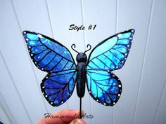 Blue Morpho Butterfly Plant Stake, Magnet, or Clip - iridescent wings  - 3d Garden, Potted plant, floral arrangement, home decor- waterproof