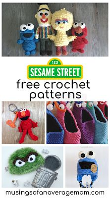 25 free Sesame street crochet patterns including plushes, key chain, amigurumis and hats Crochet Animal Patterns, Crochet Patterns Amigurumi, Crochet Blanket Patterns, Crochet Dolls, Crochet Stitches, Crochet Baby, Free Crochet, Hat Crochet, Disney Crochet Patterns
